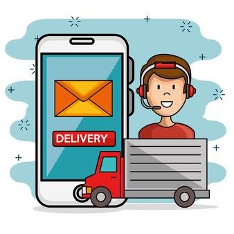 Man icon serviço de call center com caminhão de entrega e smartphone