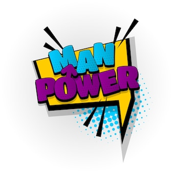 Man power sound efeitos de texto de quadrinhos modelo quadrinhos bolha de discurso meio-tom estilo pop art