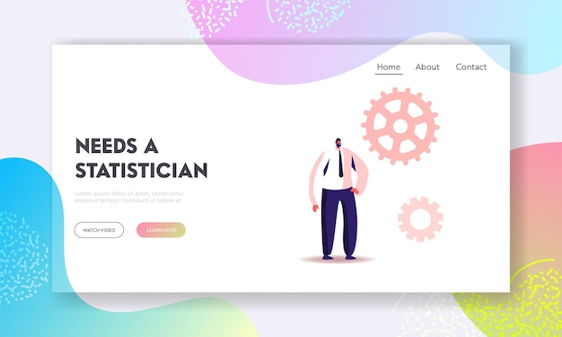 Man workaholic routine, science statistics landing page template.