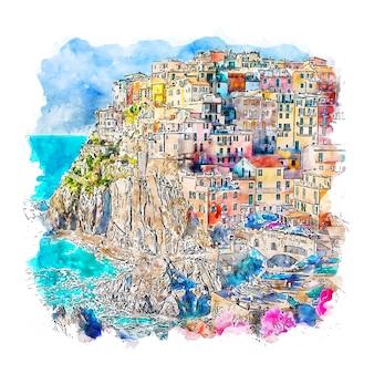 Manarola itália esboço em aquarela.