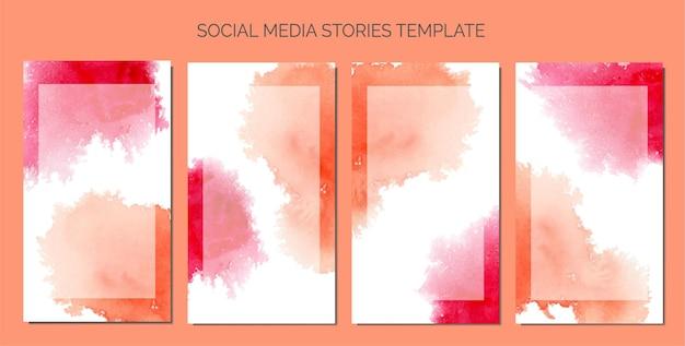 Mancha de aquarela abstrata como plano de fundo do modelo de histórias de mídia social