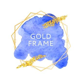 Mancha de aquarela elegante abstrato azul e moldura dourada