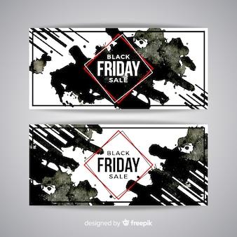 Mancha de aquarela preto sexta-feira banners