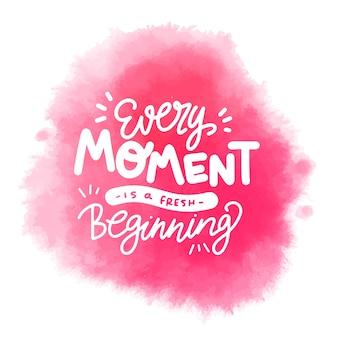 Mancha de aquarela rosa com letras positivas mensagem
