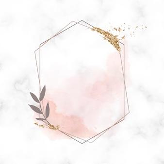 Mancha de purpurina dourada em um vetor de moldura hexagonal