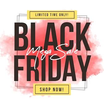 Mancha-de-rosa aquarela sexta-feira negra