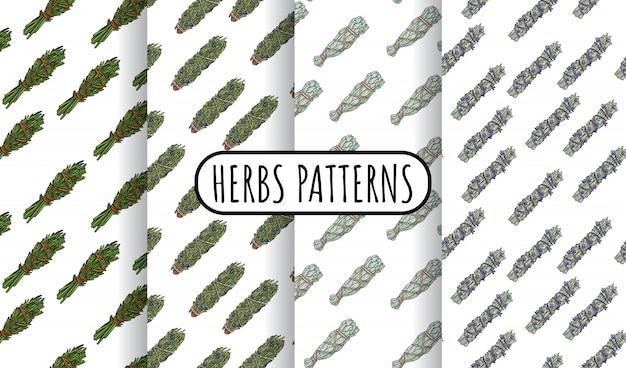 Mancha de sálvia varas conjunto de padrões sem emenda boho desenhados à mão. coleção de azulejos de pacote de ervas
