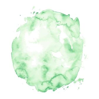 Mancha verde-clara desenhada à mão em aquarela isolada no fundo branco para design