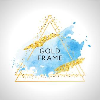 Manchas de aquarela azuis pastel e linhas douradas. moldura dourada.