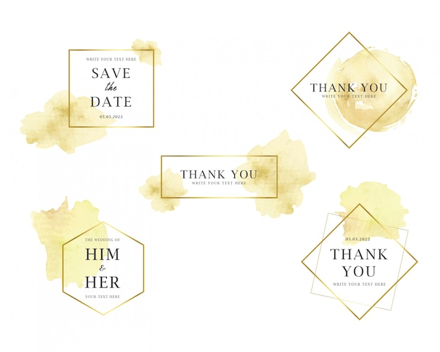 Manchas de aquarela ouro coleção de distintivos de casamento
