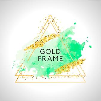 Manchas de aquarela verdes pastel e linhas douradas. moldura dourada.