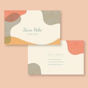 Manchas de cor pastel modelo abstraem cartão de visita