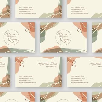 Manchas de cor pastel no cartão de visita