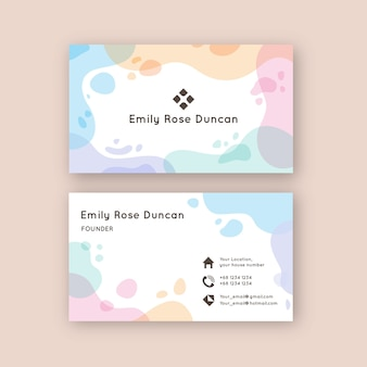 Manchas de cor pastel para modelo de cartão de visita