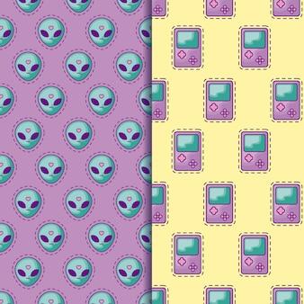 Manchas de padrão sem emenda da alienígena de cabeça e alça de videogame