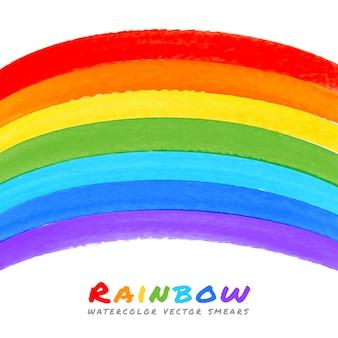 Manchas de pincel aquarela de arco-íris