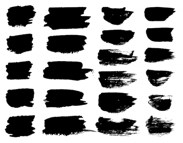 Manchas de pincel de tinta preta de vetor