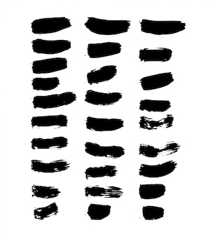 Manchas de pincel de tinta preta
