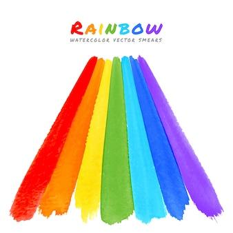 Manchas de pincel para aquarela arco-íris