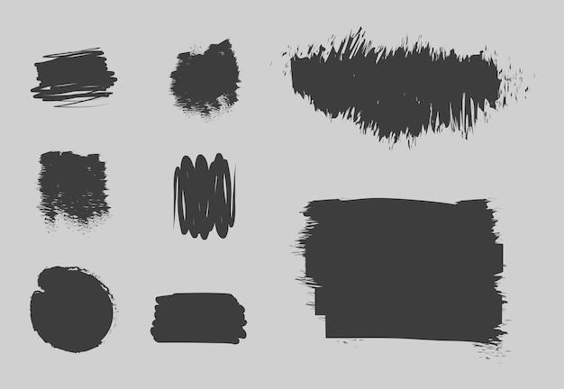 Manchas de rabisco, conjunto de traços, estilo grunge e pincéis