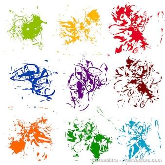 Manchas de tinta coloridos fundo abstrato