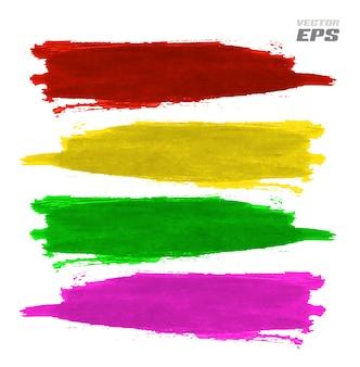 Manchas de tinta de vetor cor splat com efeito de textura de papel