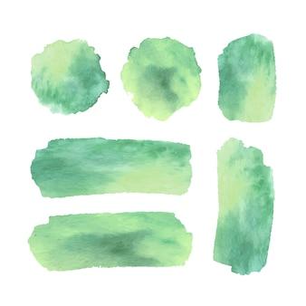 Manchas e traços verdes de aquarela