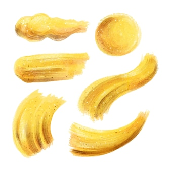 Manchas pintadas à mão com ouro e glitter