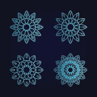 Mandala arte ornamento floral étnica gradiente cor