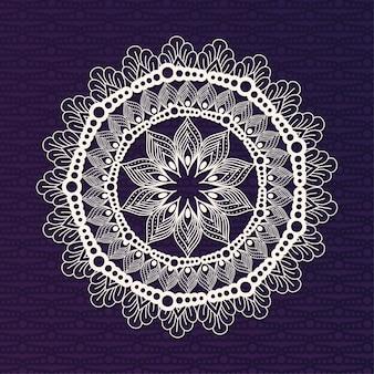 Mandala branca com desenho de fundo roxo escuro de ornamento boêmio