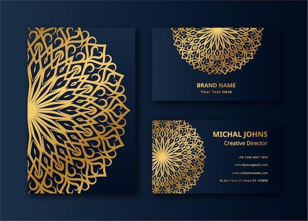 Mandala cartão de visita mandala fundo dourado cor design