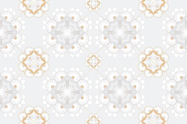 Mandala cinza padrão indiano com fundo floral