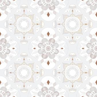 Mandala cinza sem costura padrão floral de fundo