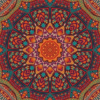 Mandala colorida festiva abstrata com padrão étnico tribal
