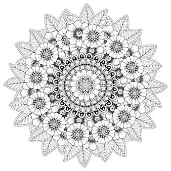Mandala com flor de henna, ornamento decorativo em estilo oriental étnico. página do livro para colorir.