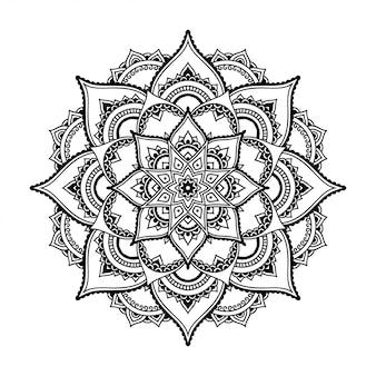Mandala com flor. ornamento decorativo em estilo étnico oriental. esboço doodle mão desenhar ilustração.