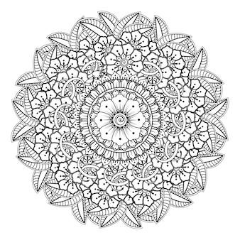 Mandala com flor para henna, mehndi, ornamento decorativo em estilo oriental étnico.