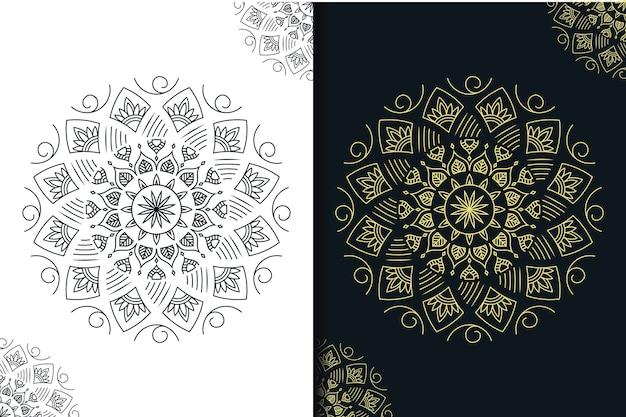 Mandala criativa escura e dourada com estilo de arte de linha
