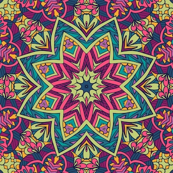 Mandala de arte boho étnica de padrão sem emenda de vetor. projeto doodle com ornamentos coloridos.