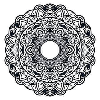 Mandala de arte com lindas flores e folhas