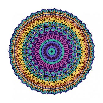 Mandala de círculo redondo colorido com estilo étnico