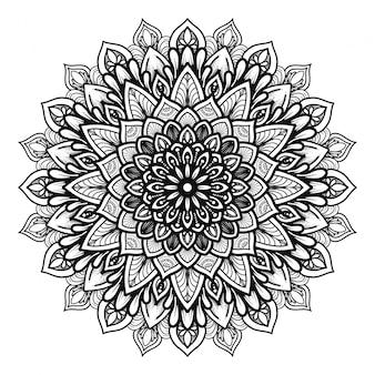 Mandala de contorno para livro de colorir. ornamento decorativo redondo. padrão de terapia anti-stress. tecer o elemento de design. logotipo da ioga, plano de fundo para o cartaz de meditação. vetor de linha oriental de forma incomum de flor.