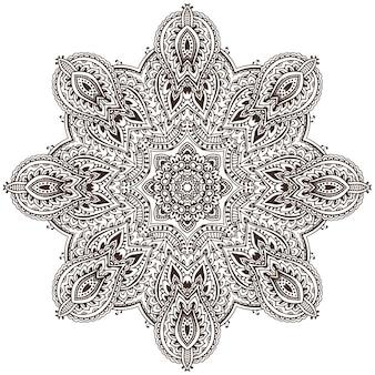 Mandala de desenho de renda redonda abstrata, elemento decorativo
