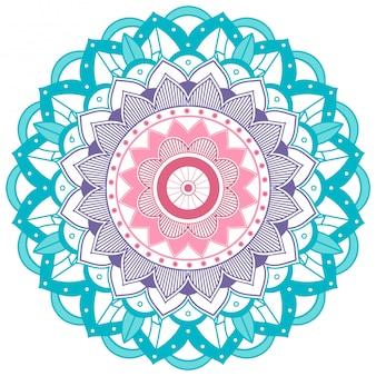 Mandala de flor azul e roxa