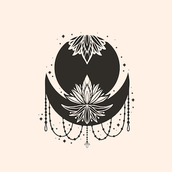 Mandala de flor de lua crescente. amuleto de símbolo de bruxa boho de astrologia. estilo moderno de decoração mística sagrada. ilustração em vetor.