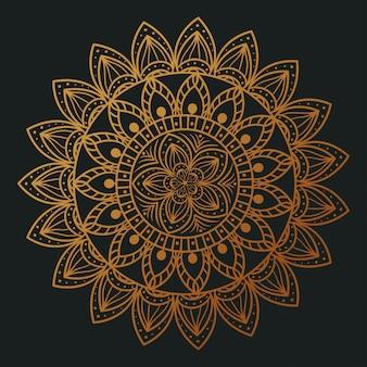 Mandala de flor dourada elegante, mandala de luxo vintage, decoração ornamental