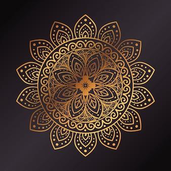Mandala de flor dourada em fundo escuro, mandala de luxo vintage, decoração ornamental