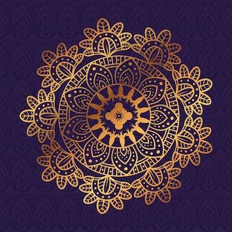 Mandala de flor dourada em fundo roxo, mandala de luxo vintage, decoração ornamental