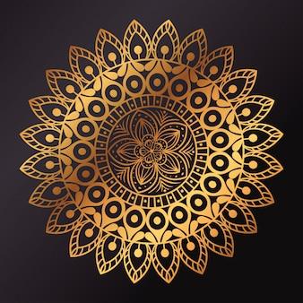 Mandala de flor dourada, mandala de luxo vintage, decoração ornamental