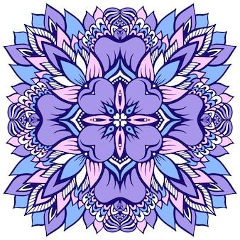 Mandala de flor em roxo suave. ilustração